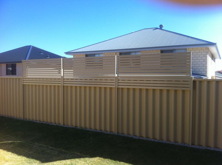 colorbond fence with wood privacy screen - Google Search