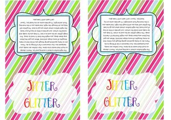 Jitter Glitter poem for baggies- sprinkle on head