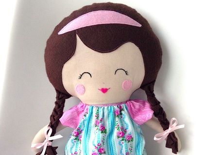 Beautiful LARGE fabric doll handcrafted with love in NZ