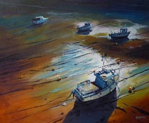 CORNISH BOATS AT LOW TIDE, PORT ISAAC - oil on board, Harrison Galleries