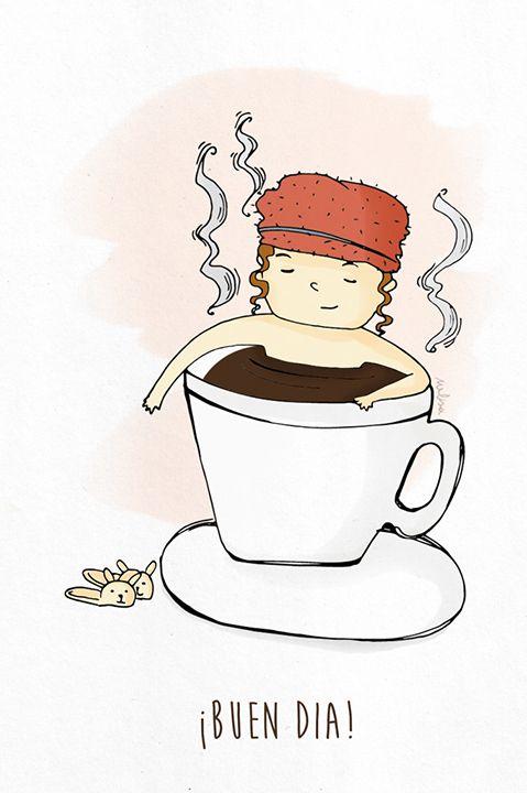 Buen día. Ilustración. Melisa Navarro #coffee #good #morning #cup #bunny
