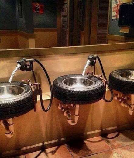Not only did this restaurant use tires to make their sinks, but gas pumps are also the faucets.Image... - Mom.me