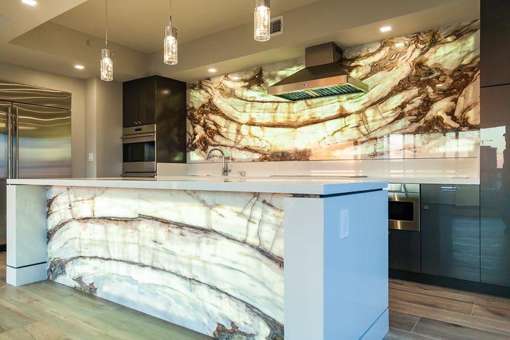 Calacatta Onyx Backlit Kitchen Backsplash Island Front Geoluxe Palissandro Counter Waterfall Edge Onyx Kitchen Kitchen Island Design Kitchen Countertops