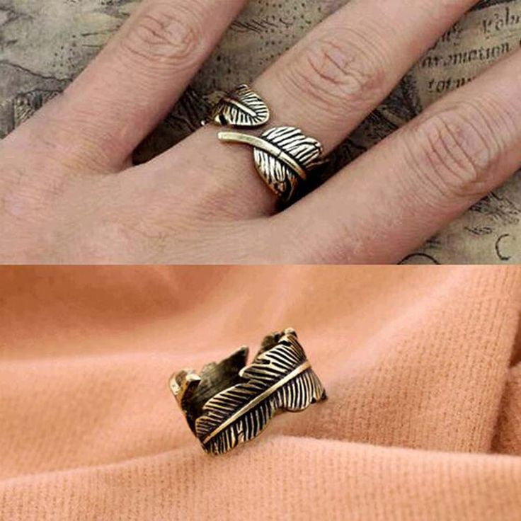 Bohemian Style Retro Feather Shaped Women Statement Rings For Women Party Wedding Ring Jewelry Free Shipping