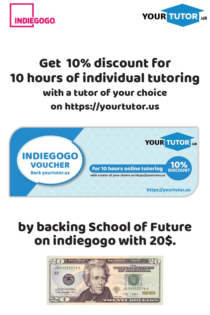 Back us with 20$ and get 10% discount for 10 hours of individual tutoring with a tutor of your choice! #discount #individualtutoring #schooloffuture #virtualclassroom