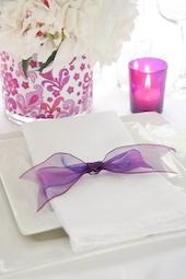 Pretty two toned purple ribbon napkin tie