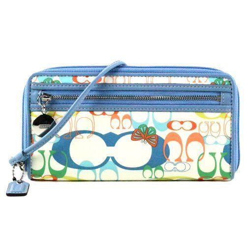 Coach Daisy Op Art Signature Butterfly Zip Around Accordian Wallet 44992 Multi