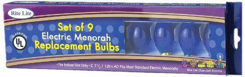 Rite-Lite Judaica Blue Electric Menorah Bulbs, Box 0f 9 by Rite -Lite Judaica. $6.99. Glass. Blue and white flame-shaped bulbs. UL-Listed. Electric Hanukkah Menorah replacement bulbs. Keep the light of Hanukkah burning bright with these Blue-flame Electric Menorah replacement bulbs.  These bulbs are UL Certified and come 9 per package - enough for one Menorah.