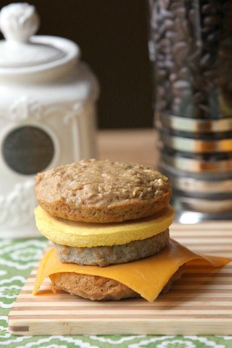 Reminds me of a healthy version of a McGriddle - Pancake, Egg & Sausage Breakfast Sandwiches - Low Calorie, Low Fat, Healthy -