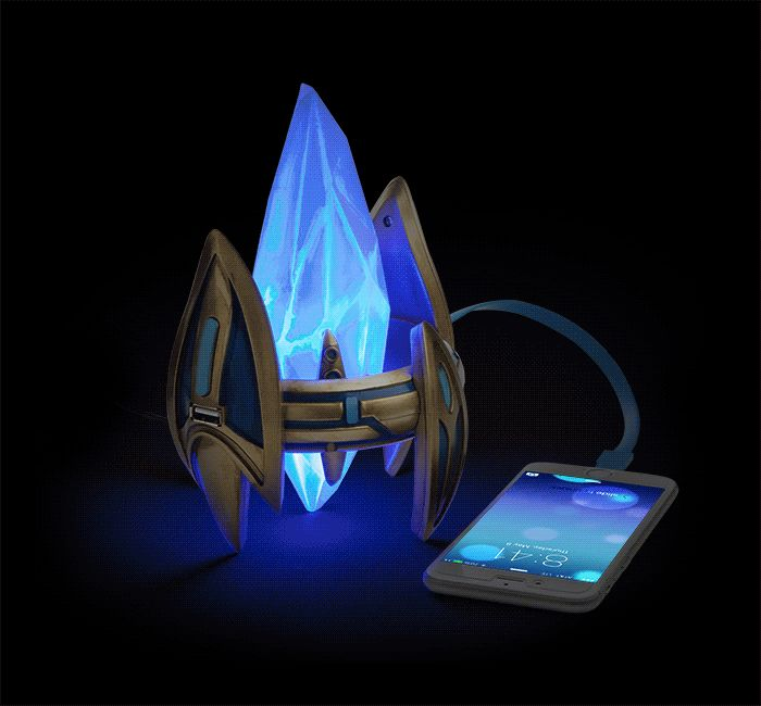 This Starcraft II Protoss Pylon Desktop Power Station is both a light and a charger. It gives you access to the great psionic energy matrix emanating from Aiur, but, in case you can't tap into that, it also has an AC Adapter. Its 2 USB ports can power all your devices that charge via USB (provided you have the correct cable - it ships with one micro-USB cable). Note: We do not recommend you overcharge and rush with these. The power cable ain't long enough.