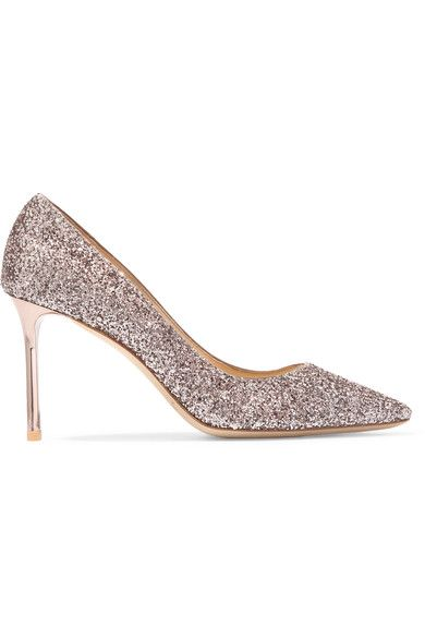 Heel measures approximately 85mm/ 3.5 inches Antique-rose glittered leather Slip on Made in Italy