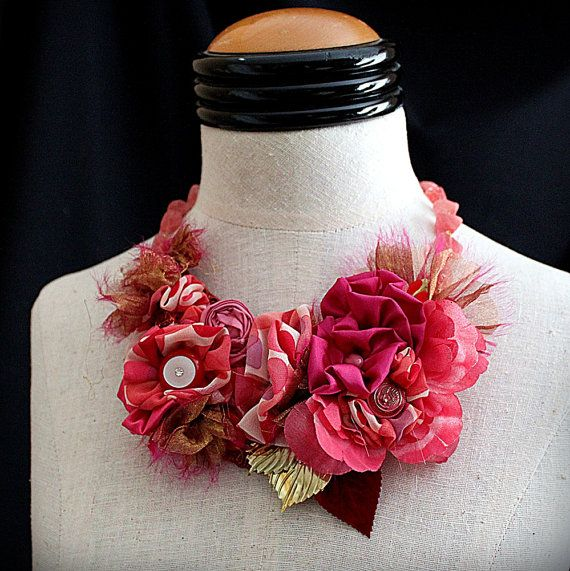 MY FUNNY VALENTINE Red Coral Pink Mixed Media Statement Necklace