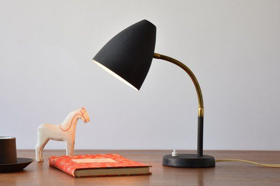 Vintage Scandinavian Desk Lamp With Goose Neck Matte Black Etsy Scandinavian Desk Lamp Desk Lamp Lamp