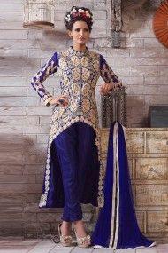 Georgette Party Wear Designer Suit in Blue Colour