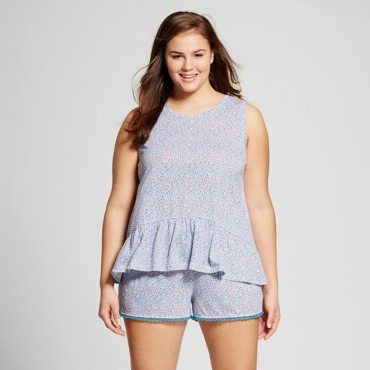 Women's Plus Size Pajama Set Jazzy Turq 1X - Xhilaration, Blue Red