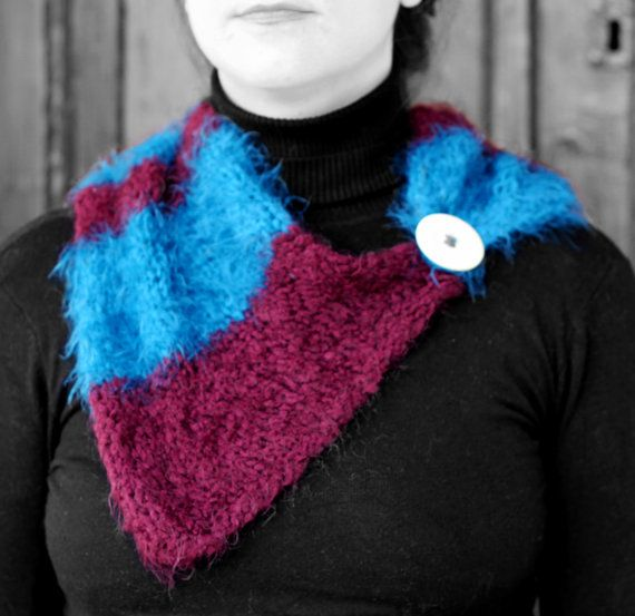 Neck warmer purple and blue by MmeDefargeYarnworks on Etsy