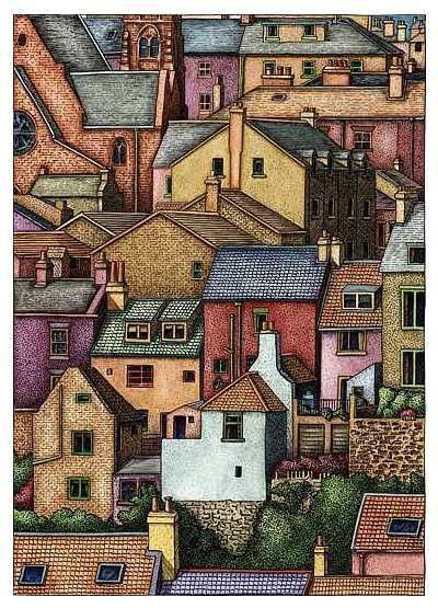 Pen and Ink Drawing. Houses in Whitby: Artist unknown