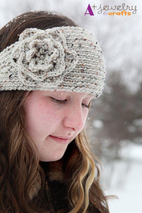 Oatmeal cream grey flecked knit headband by APlusJewelryCrafts