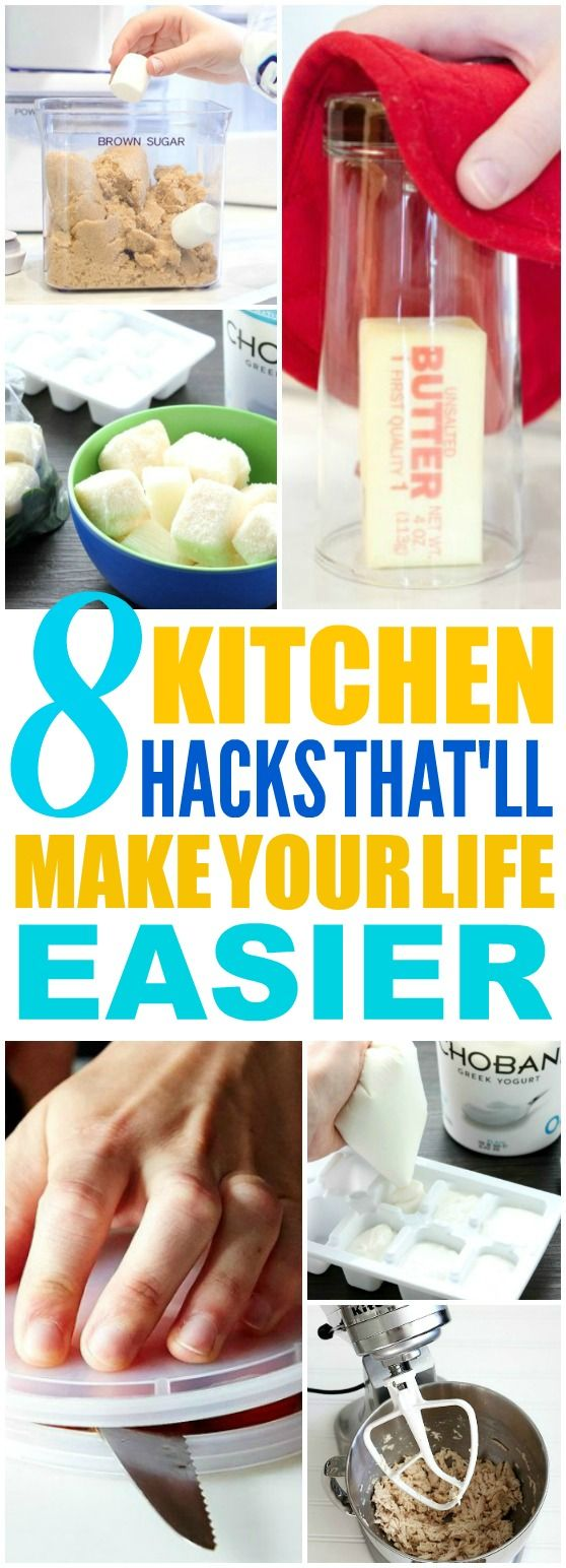 These 8 Time Saving Kitchen Hacks are THE BEST! I'm so happy I found these AMAZING tips! Now I have some great ways to make cooking and cleaning easier! Definitely pinning