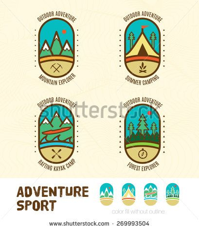 Vector : Sett of Adventure sport logo badges include Mountain Explorer,Summer Camping,Kayak camp,Forest explorer