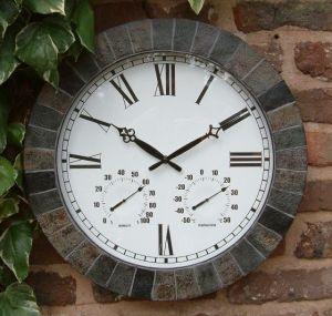 "Large Slate Effect Outdoor Garden Clock - 45cm (17.7"")"