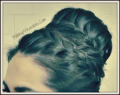 Easy hairstyles/ updos, hair bun, braided sock bun updo style for medium long hair on yourself.  Wedding, Bridesmaid, prom