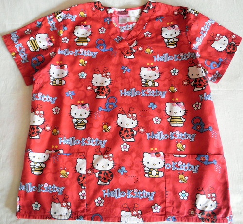 Medical Scrubs Hello Kitty Sanrio Red Flower Print Scrub Top, Size L $12.99