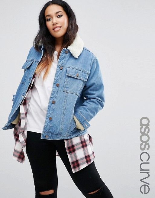 ASOS Curve | ASOS CURVE Denim Cropped Jacket with Borg Lining