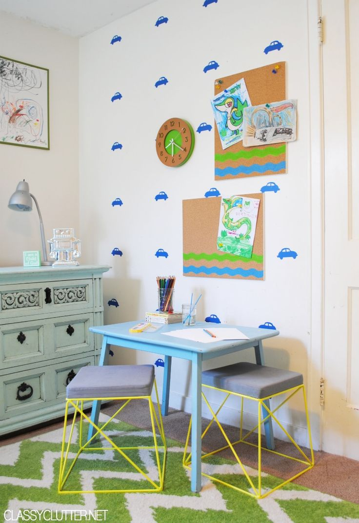 DIY Kid's Art Station - www.classyclutter.net: Playrooms Wall, Crafts Rooms, Plays Rooms, Kid Art, Art Center, Rooms Playrooms Nurseries, Diy Kids, Decor Families, Kids Art Stations