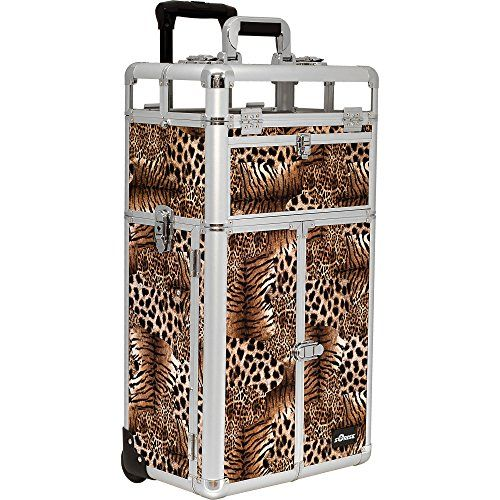 SUNRISE Nail Polish Organizer Case on Wheels 2 in 1 I31065, 54 Bottle Capacity, French Doors, 4 Drawers, Locking with Mirror, Brown Leopard