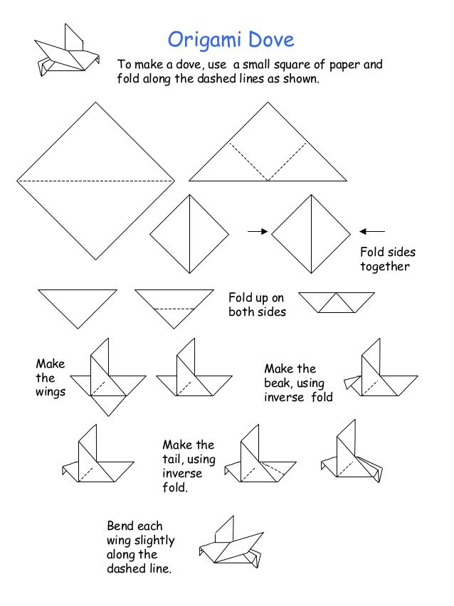 Origami Dove To make a dove, use a small square of paper and fold along the dashed lines as shown. Fold up on both sides Fold sides together Make the wings ...