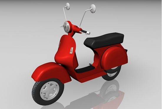 3D Vespa motor scooter model in FBX 3D model format that works with most 3D modeling software.