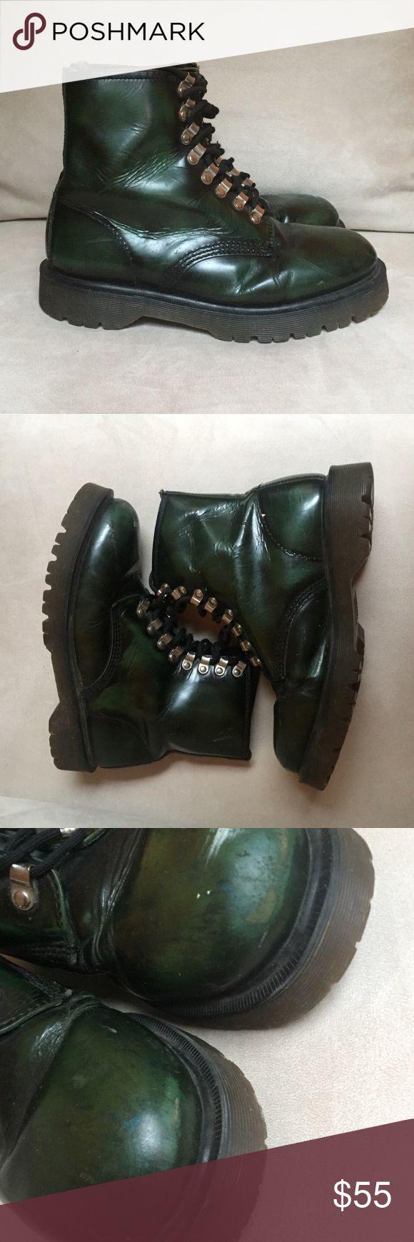 Dr. Martens Green Lace Up Combat Boots Dr. Martens Green Lace Up Combat Boots size 8 - exterior scuffs shown in photos Dr. Martens Shoes Combat & Moto Boots