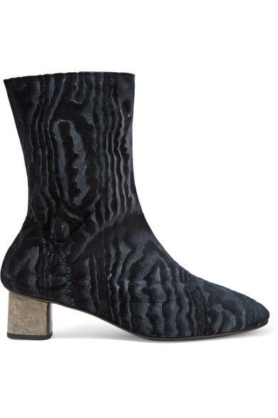 Robert Clergerie - Plopt Devoré Stretch-velvet Ankle Boots - Midnight blue