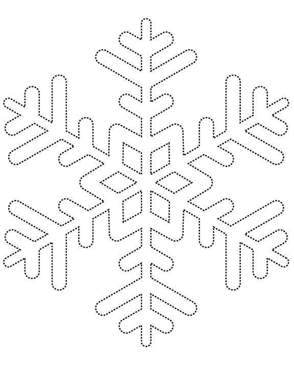 Dotted Line Snowflake - Free Printable Coloring Pages