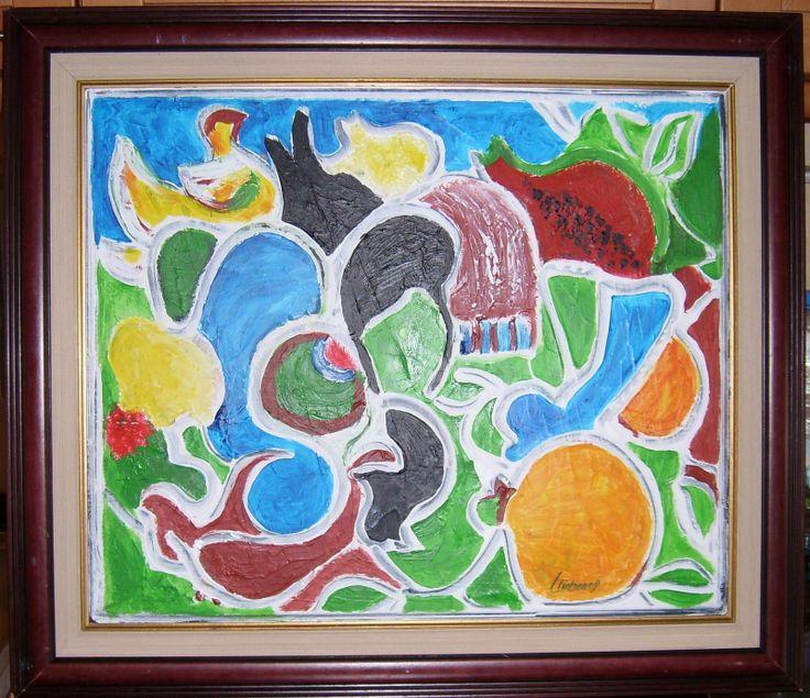 """Graça Lisboa (1955) """"Marchas de LIsboa"""" 2007 Acrilico s/Tela (100X100cm) Colecção particular"""