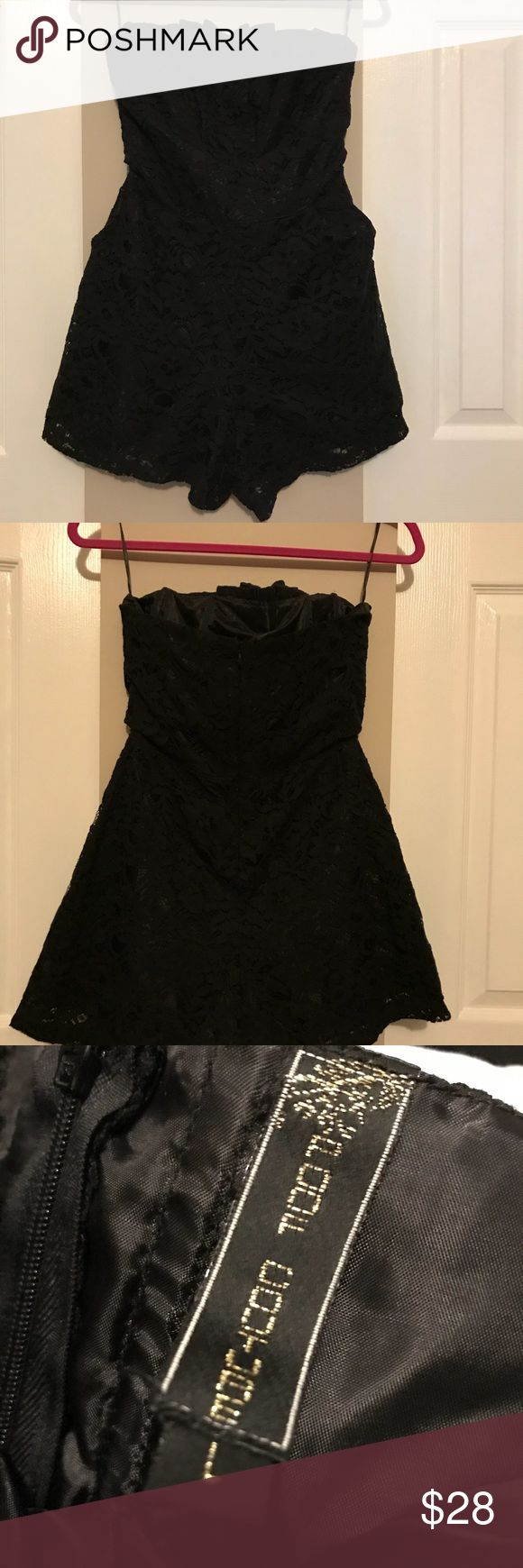 Black lace shorts jumper dress Super cute, shorts jumper dress with side pockets. Perfect for a night out! It is a large but for reference I'm petite 116 lbs and it fits perfectly Dresses Mini