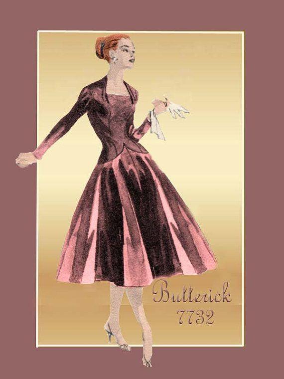 Butterick 7732 1950s Kleid Muster elegante von FloradoraPresents