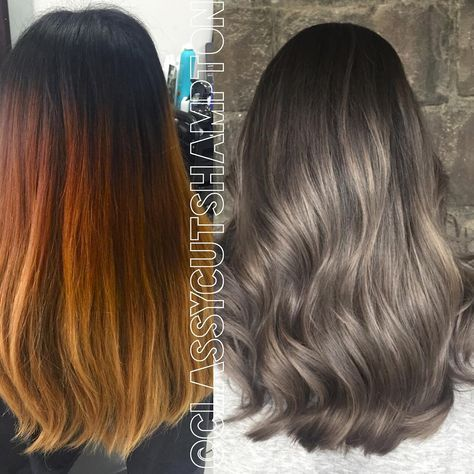 """""""And here it is guys!! 2 full color lifts, A LOT of @olaplex @olaplexau and 6hrs later we managed to remove ALL her red copper buildup and was able to give…"""""""