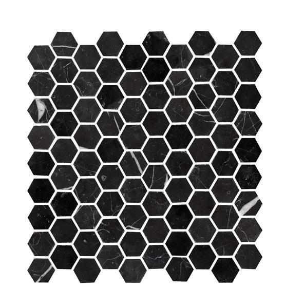 Bricmate Marmormosaik U Hexagon Nero Marquina (0,40 m2)