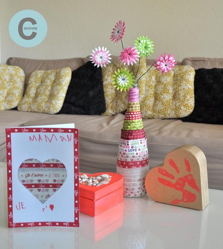 DIY le vase et les fleurs, la boîte à bijoux, une carte pour maman par Cocorely pour le concours Surprise pour la fête des mères de Rougier & Plé