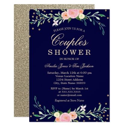 Navy Sweet Floral Sparkle Confetti Couples Shower Card - wedding invitations diy cyo special idea personalize card
