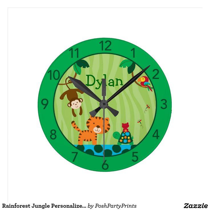 Rainforest Jungle Personalised Nursery Wall Clock