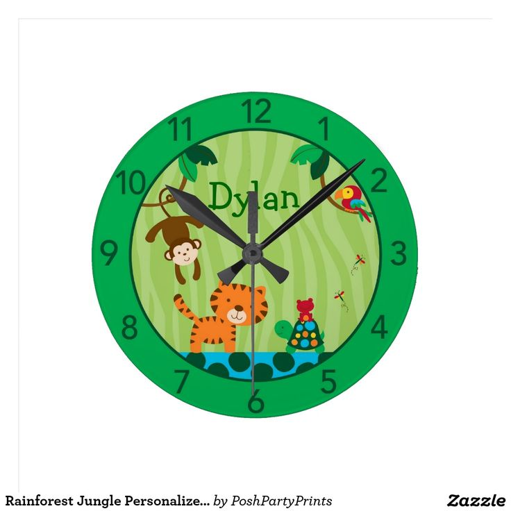 Rainforest Jungle Personalised Nursery Wall Clock