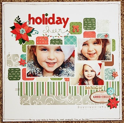 Probably my fave layout of Becky Williams'... love the little corner-rounded squares of patterned paper (from Becky Williams' blog)