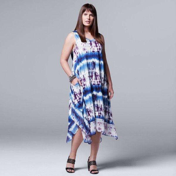 Plus Size Simply Vera Vera Wang Tie-Dye Midi Dress ($32) ❤ liked on Polyvore featuring plus size women's fashion, plus size clothing, plus size dresses, blue, plus size, plus size v neck dress, midi dress, women plus size dresses, tie-dye dresses and plus size blue dress