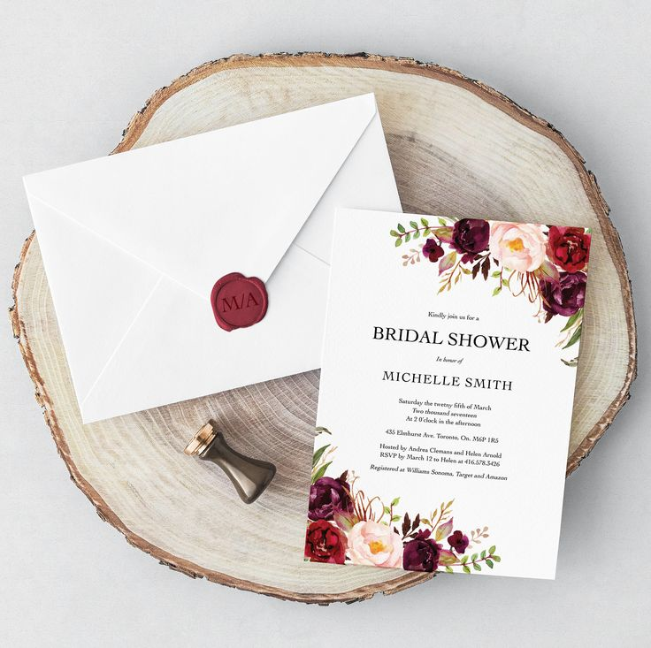 Bridal Shower Invitation, Modern, Boho, Traditional Invitation, Burgundy, Marsala, Maroon, Printed Bridal Shower Invitations, Printable by vocatio on Etsy https://www.etsy.com/ca/listing/575572142/bridal-shower-invitation-modern-boho