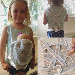 FREE PATTERN crochet baby doll carrier by Corn on the Monkey