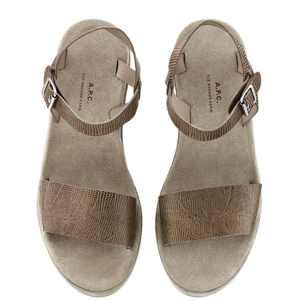 Sandales compensées basses ($275) ❤ liked on Polyvore featuring shoes, sandals, footwear, flats, обувь, taupe flats, taupe shoes, taupe flat shoes, taupe sandals and flat heel shoes