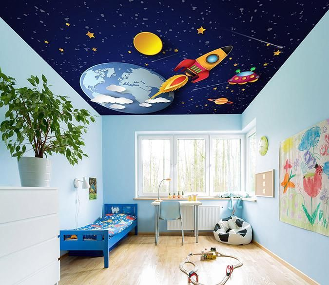Stars Sky Planets Rocket Outer Space Bedroom Outer Space